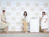 エイジングケアブランド『エリクシール』の新ミューズ発表会に出席した(左から)石井美保氏、長澤まさみ、バービー