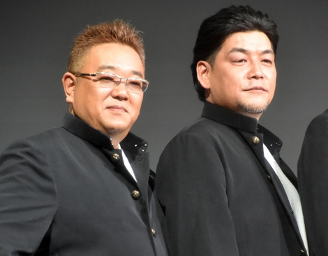 『DMM GAMES×レベルファイブ』記者発表会に出席したサンドウィッチマン(左から)伊達みきお、富澤たけし (C)ORICON NewS inc.
