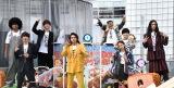 『とんかつDJアゲ太郎』のイベントに出席した(前列左から)伊藤健太郎、北村匠海、山本舞香、(後列左から)ブラザートム、浅香航大、DJ-KOO、加藤諒、栗原類