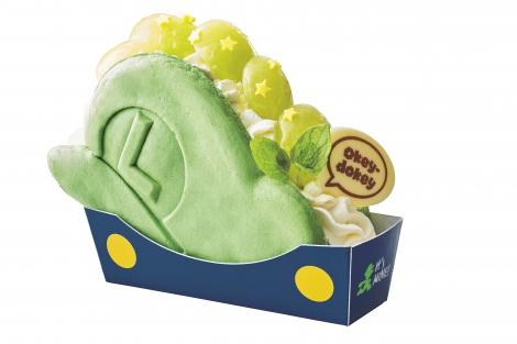 『マリオ・カフェ&ストア』で販売される『パンケーキ・サンド ルイージの帽子 〜ぶどうのレアチーズケーキ〜』