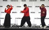 新作スマートフォン向けゲーム『スタースマッシュ』発表会に参加した(左から)山之内すず、亜生、昴生 (C)ORICON NewS inc.