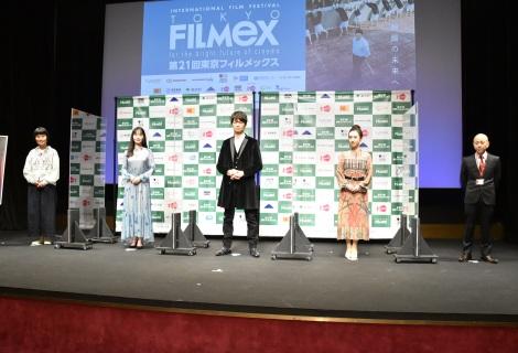 映画『愛のまなざしを』の舞台あいさつに出席した(左から)片桐はいり、中村ゆり、仲村トオル、杉野希妃、万田邦敏監督 (C)ORICON NewS inc.