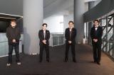 ミュージカル『プロデューサーズ』の公開稽古に参加した(左から)福田雄一、吉沢亮、井上芳雄、大野拓朗