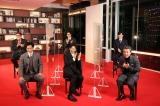 映画『新解釈・三國志』公開前夜祭オンラインイベントに登場した(前列左から)小栗旬、大泉洋、ムロツヨシ、(後列左から)福田雄一監督、賀来賢人、岩田剛典