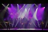 明治座2021年1月『NEW YEAR'S Dream』舞台写真(左から)新納慎也、咲妃みゆ、北翔海莉、平野綾、吉野圭吾、(階段上左から)大野拓朗、渡辺大輔