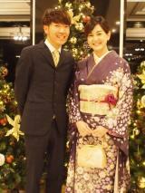 結婚を発表したアキナの秋山賢太(左)と塚本麻里衣アナウンサー
