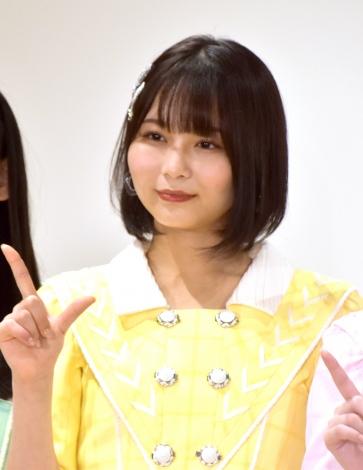 """最新シングル「青春""""サブリミナル""""」発表会に登場した=LOVE・大場花菜 (C)ORICON NewS inc."""