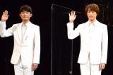 ミュージカル『Endless SHOCK -Eternal-』ゲネプロ前囲みに登壇したふぉ〜ゆ〜(左から)松崎祐介、越岡裕貴(C)ORICON NewS inc.