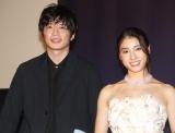 映画『哀愁しんでれら』初日舞台あいさつに出席した(左から)田中圭、土屋太鳳 (C)ORICON NewS inc.