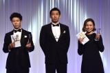 K-1 JAPAN GROUP年間表彰式『K-1 AWARDS 2020』に出席した(左から)椿原龍矢、朝久泰央、壽美 (C)ORICON NewS inc.