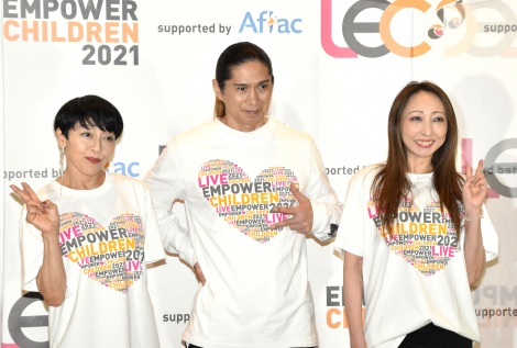 『LIVE EMPOWER CHILDREN 2021 supported by Aflac』の囲み取材に出席した(左から)TRFのETSU、SAM、CHIHARU (C)ORICON NewS inc.