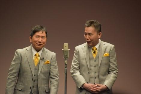太田光(右)の下ネタに苦笑いを浮かべる田中裕二 (C)ORICON NewS inc.