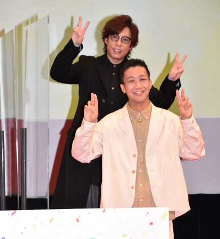 映画『トムとジェリー』プレミアムイベントに出席した日野聡&瑛人 (C)ORICON NewS inc.