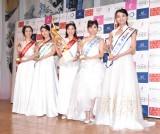 『第53回ミス日本コンテスト2021』ファイナリストの(左から)高垣七瀬さん、小林優希さん、松井朝海さん、嶺百花さん、吉田さくらさん