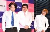 『株式会社ヴィエリス』の2021年度入社式に出席した(左から)マヂカルラブリー(野田クリスタル、村上)、おばたのお兄さん (C)ORICON NewS inc.