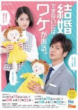 ドラマ『結婚できないにはワケがある。』速水もこみち、若月佑美が「人形・みちゅこ」を抱いたメインビジュアル (C)ABCテレビ