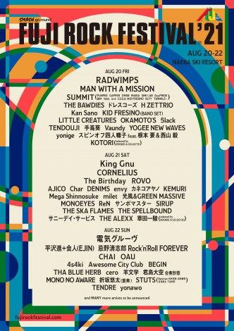 『FUJI ROCK'21』出演日別ラインナップ第1弾