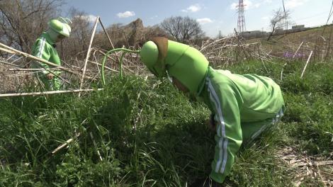 香川照之の昆虫すごいぜ!『春だよ!課外授業はテントウムシ』よりカマキリ母子がテントウムシの星の数で対決!(C)NHK