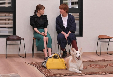 火曜ドラマ『着飾る恋には理由があって』第2話に出演する(左から)川口春奈、丸山隆平 (C)TBS