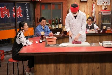 「焼肉屋ソシナ」(左から)小池栄子、松尾駿、粗品、せいや(C)フジテレビ