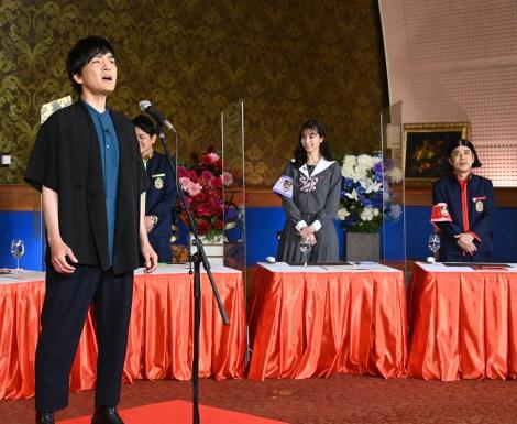 20日放送『ぐるぐるナインティナイン』に出演する森山直太朗、ノブ、中条あやみ、岡村隆史(C)日本テレビ