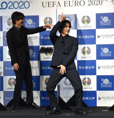 カズダンスを披露する知念侑李=WOWOW開局30周年記念『UEFA EURO 2020 サッカー欧州選手権』制作発表記者会見 (C)ORICON NewS inc.
