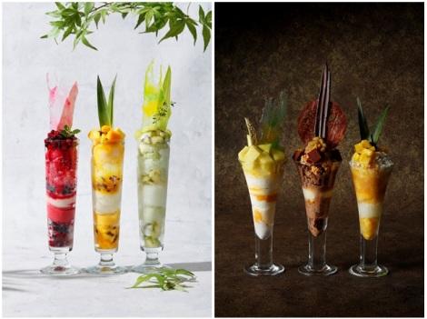 左:「Summertime Parfaitサマータイムパフェ」右:「Twilight Parfaitトワイライトパフェ」
