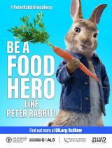 サステイナブルな食料環境をめざして、「ピーターラビットのようにフードヒーローになろう!」と呼びかけるキャンペーンビジュアル