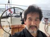 ヨット太平洋横断を2ヶ月で達成した辛坊治郎氏(写真はゴール直前)