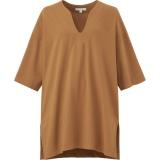 エアリズムコットンオーバーサイズT(5分袖)ブラウン(XS〜XXL)1,990円(税込)