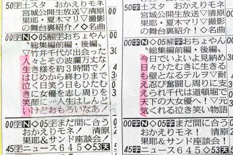 6月19日放送、『おちょやん総集編』ラテ欄の縦読み (C)ORICON NewS inc.