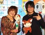 アニメ映画『リクはよわくない』取材会に出席した(左から)松本梨香、森川智之 (C)ORICON NewS inc.