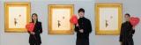 バンクシー代表作 『風船と少女』展示『世界一小さな美術館@GMOデジタル・ハチ公』に出席した(左から)堀田茜、宮沢氷魚、石川恋