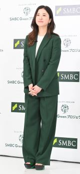 緑のパンツスーツ姿を披露した吉高由里子=『SMBC Greenプロジェクト』発表会 (C)ORICON NewS inc.