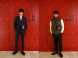 『ダンヒル』銀座本店に来場した(左から)内藤秀一郎、山口貴也